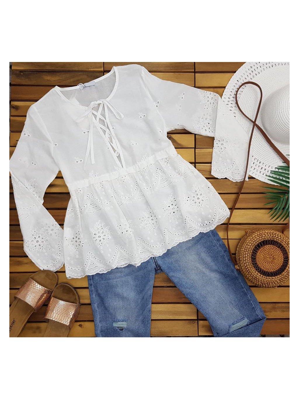 košeľa s perforovaným vzorom
