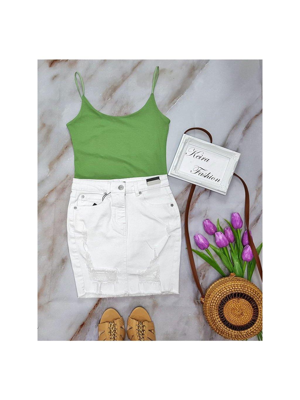 biela mini riflová sukňa