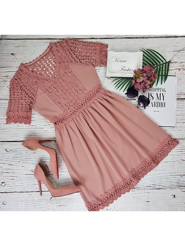 staroružové šaty s krajkou