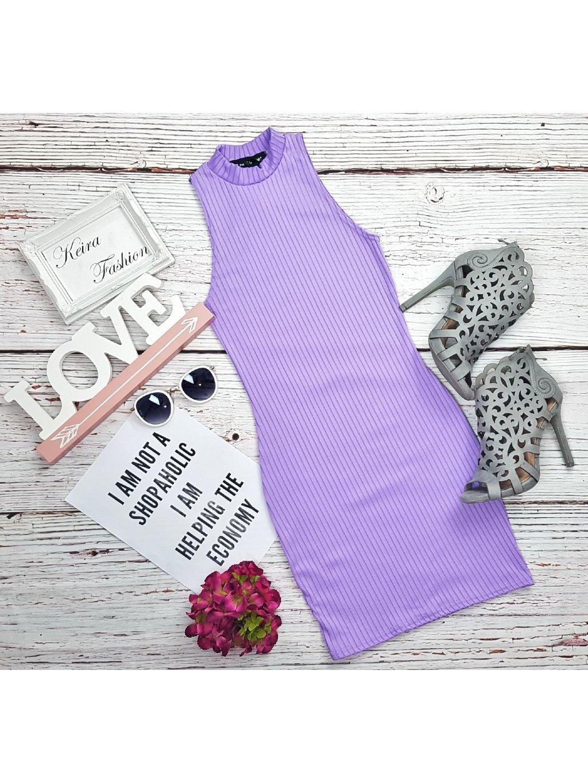 fialové rebrované šaty na leto
