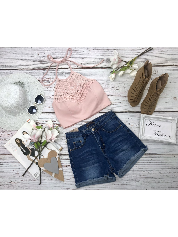 Crop top Crochet Rose - vystužený