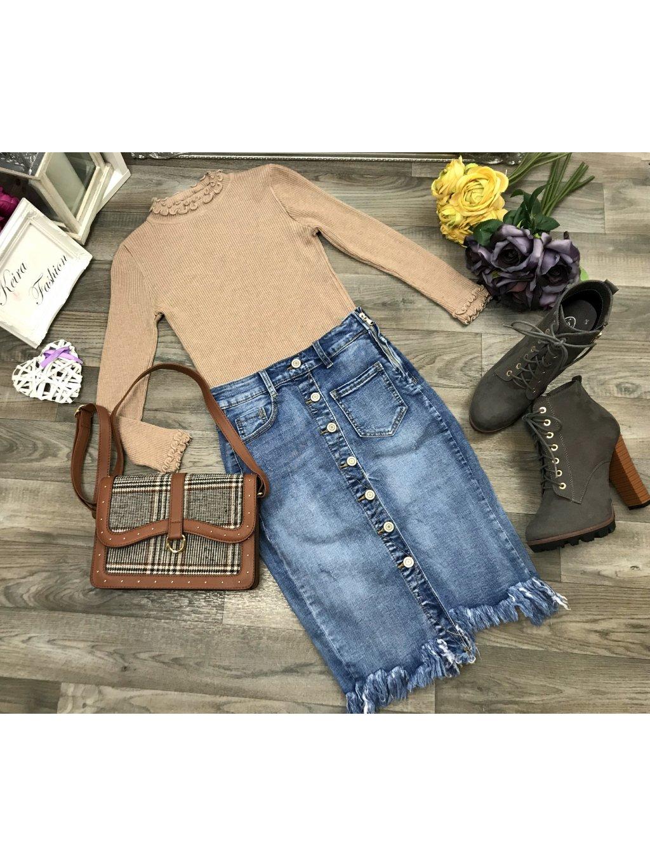 riflová sukňa s vysokým pásom