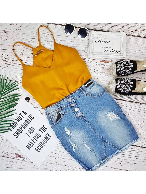 Riflová sukňa Light Buttons - elastická