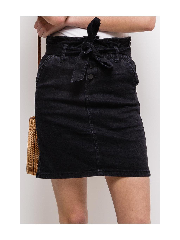 čierna elastická riflová sukňa