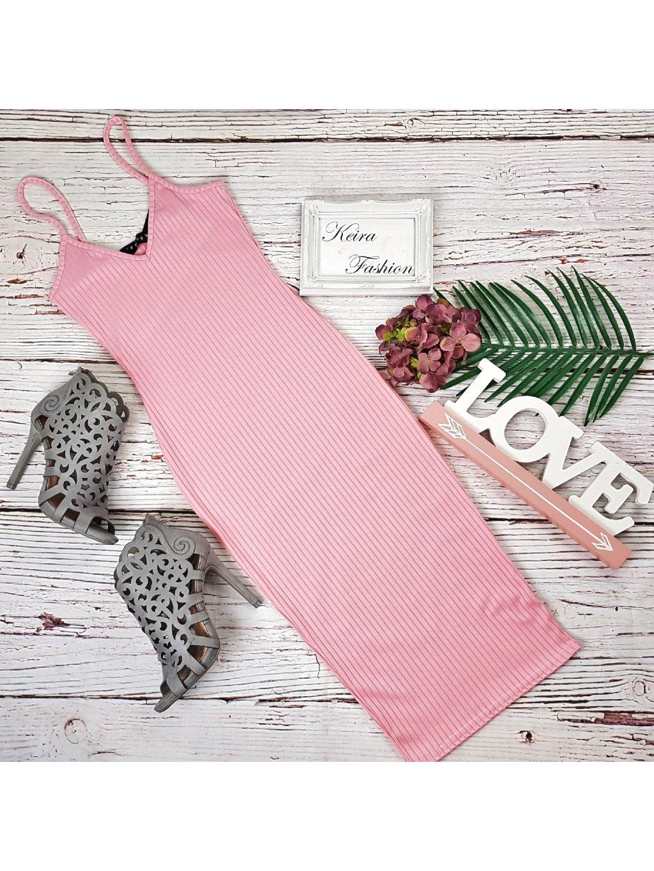 rebrované midi šaty na ramienka ružové