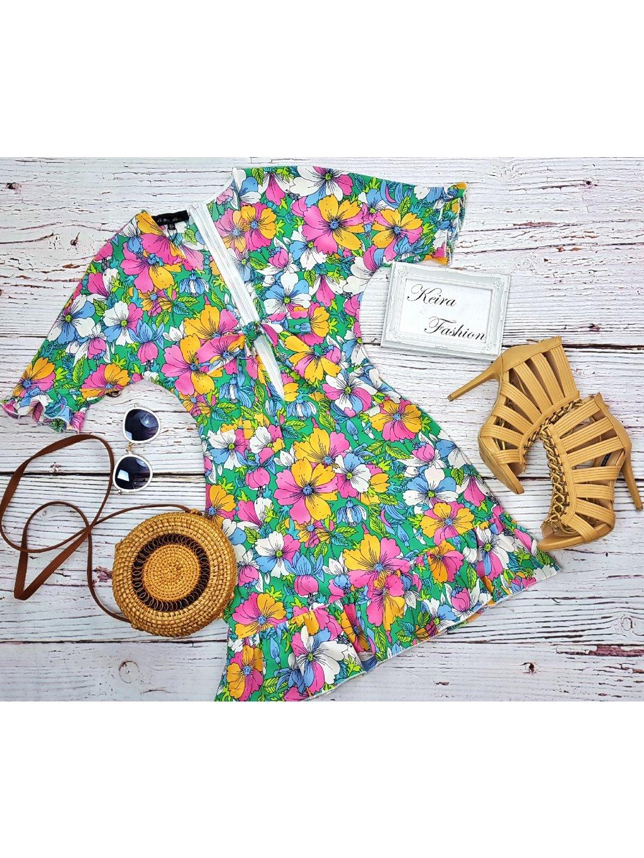 kvetinové šaty s mašľou