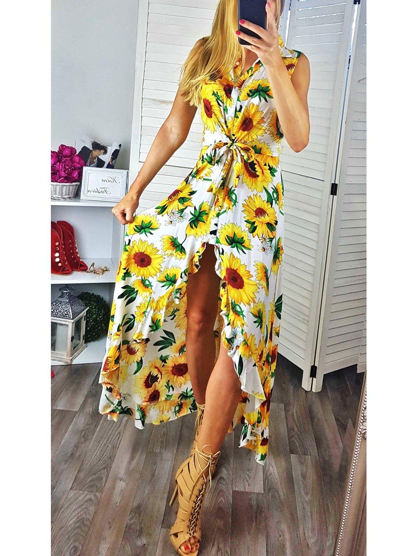 šaty slnečnicami
