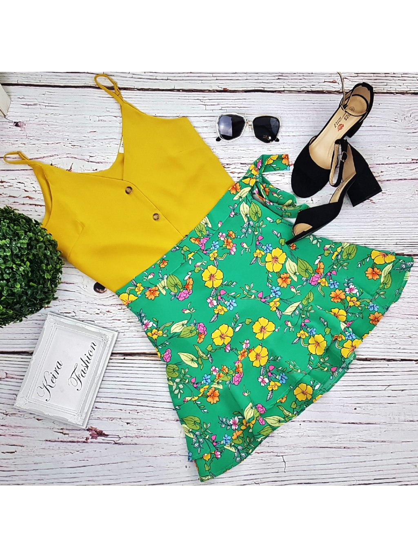 zelená kvetovaná mini sukňa