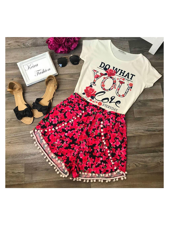 ružové kvetované boho šortky