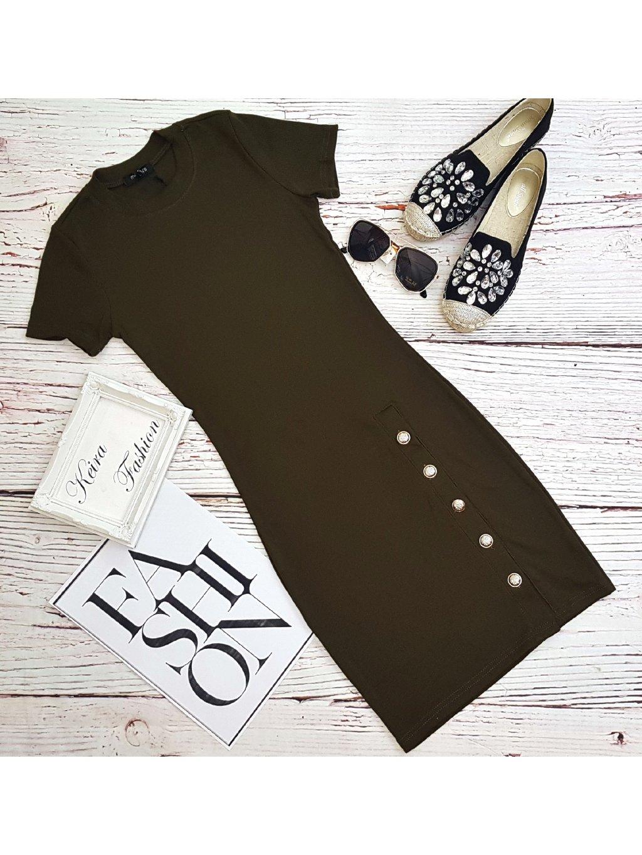Vrúbkované šaty Olive Buttons