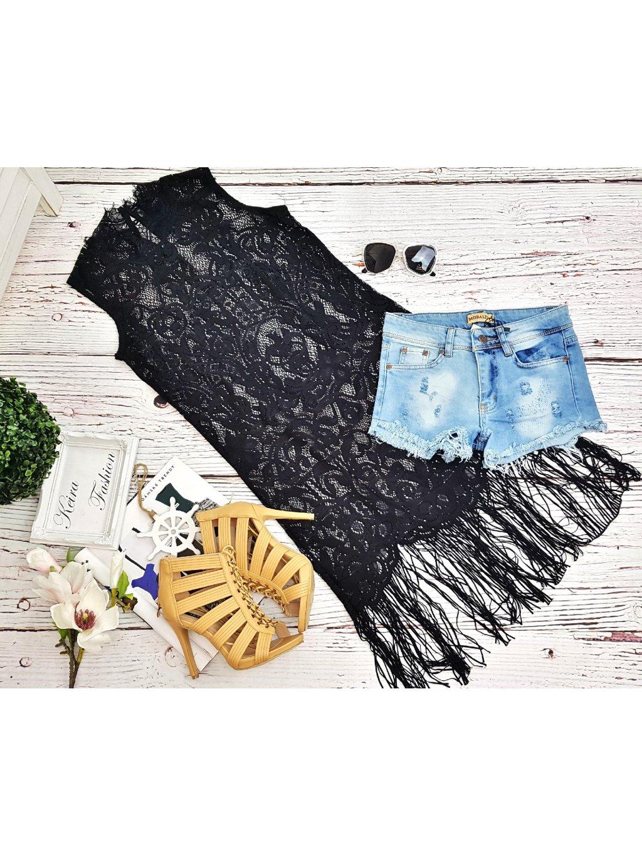 čierna čipkovaná tunika so strapcami