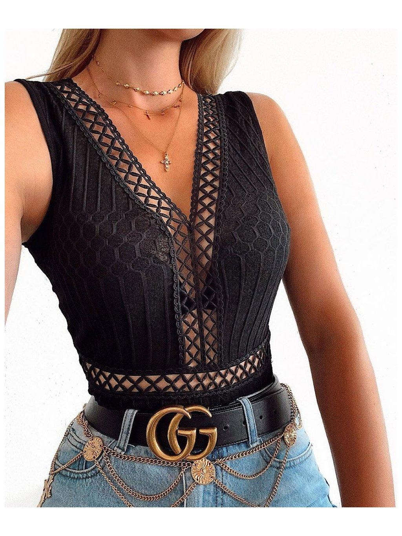 crochet lace trim mesh back sleeveless bodysuit p7277 372588 image