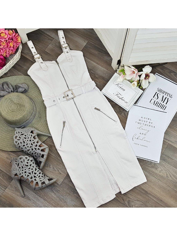 biele riflové šaty na zips