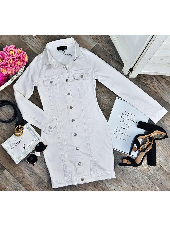 biele riflové šaty na gombíky