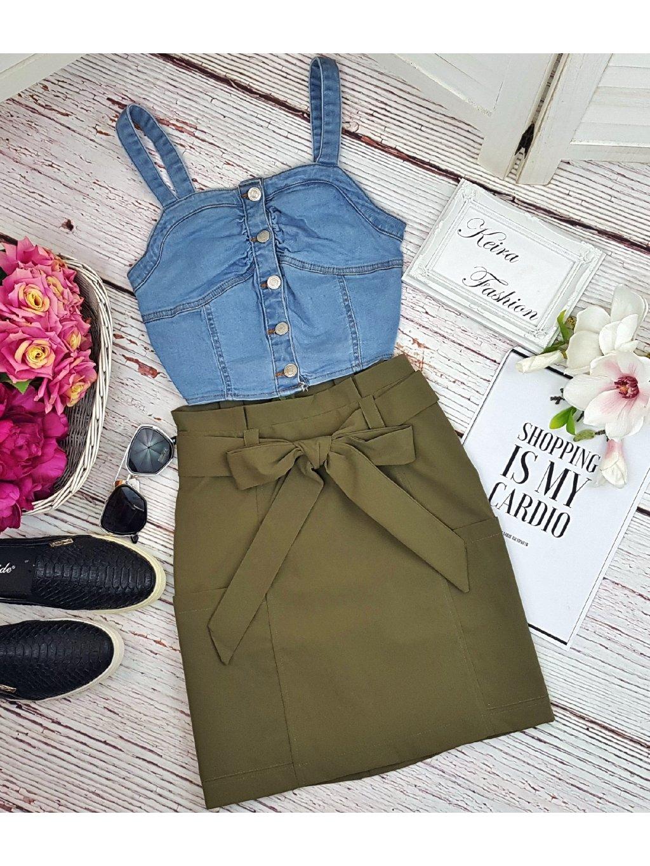 zelená safari sukňa