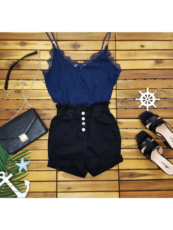 čierne riflové kraťasy s vysokým pásom