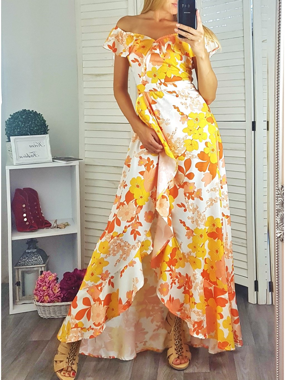 Maxi šaty Orange Flowers