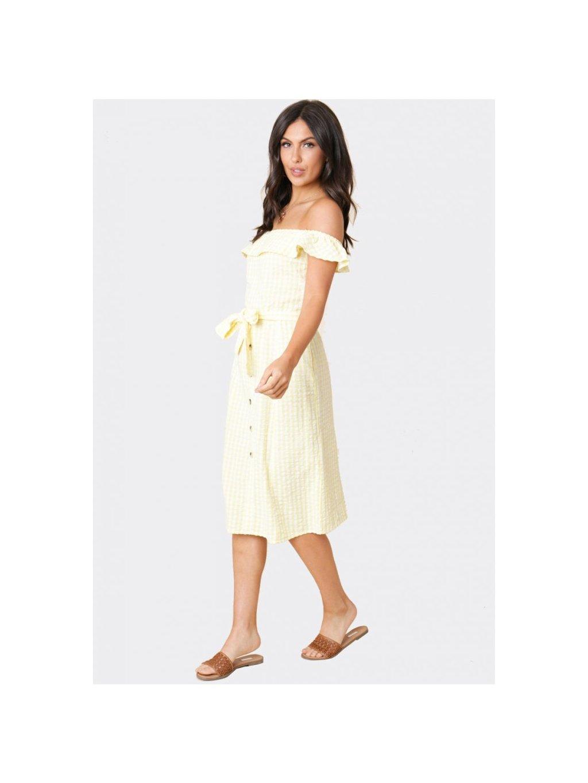 žlté kockované midi šaty