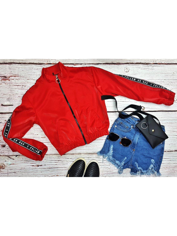 červená trendy mikina na zips