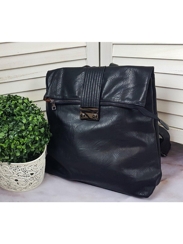 čierny koženkový ruksak dámsky