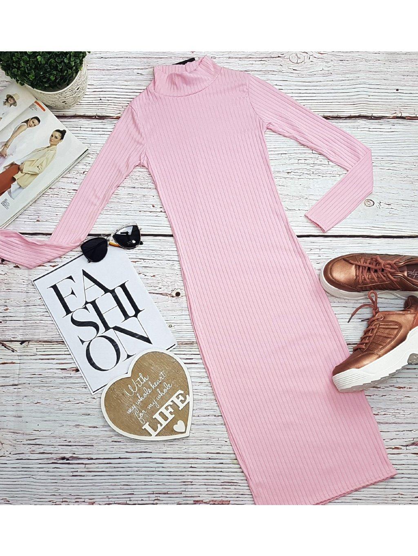 vrúbkované ružové midi šaty