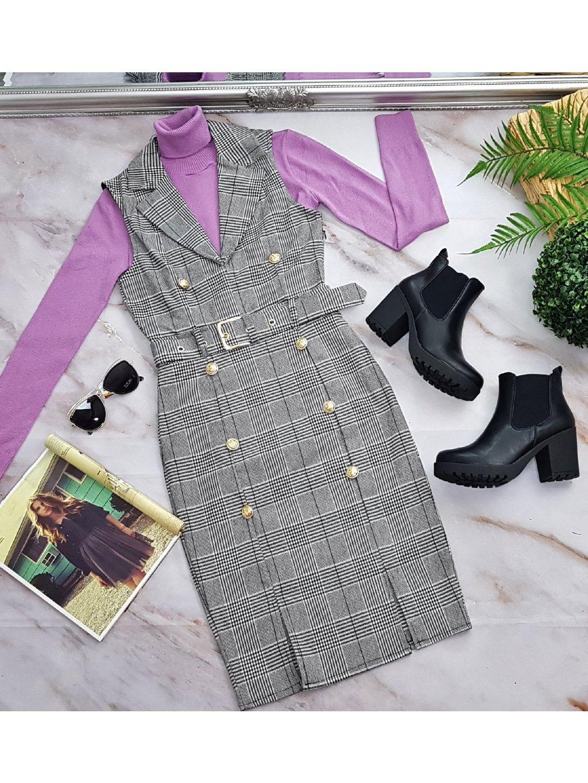 kockované šaty s opaskom