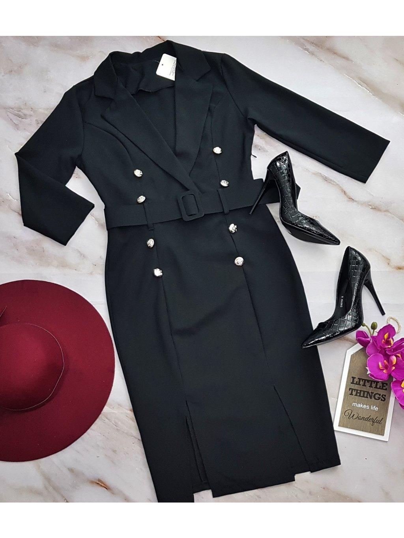 čierne šaty s gombíkmi