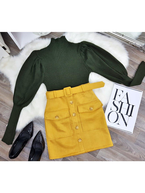 khaki zelený sveter