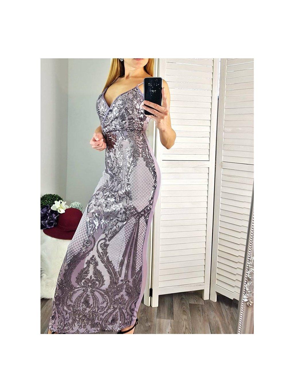 šaty so striebornými flitrami