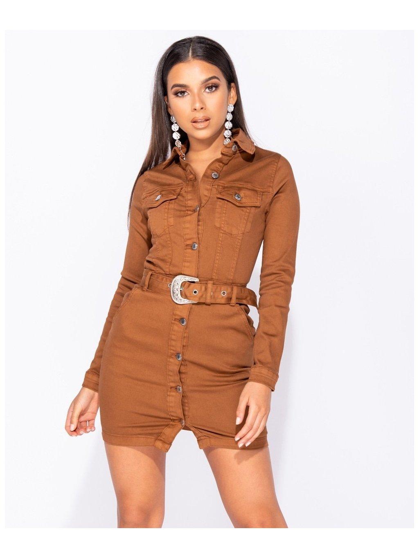 hnedé riflové šaty