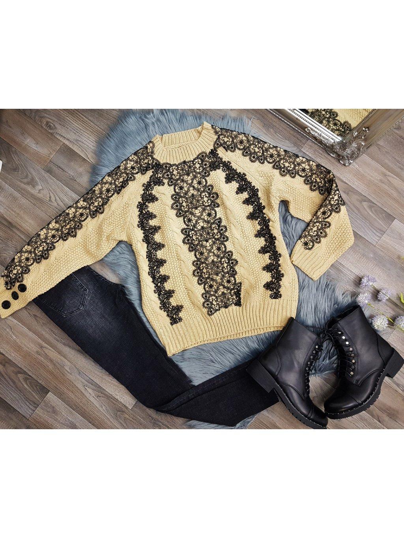 béžový sveter s čipkou