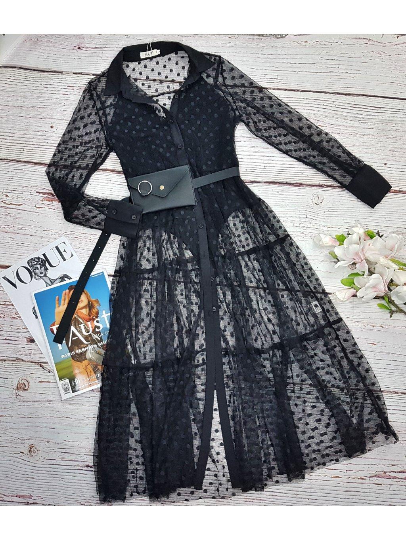 Priesvitná maxi košeľa alebo šaty  Mia - čierna