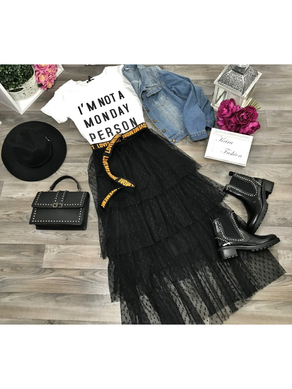 maxi tylová čierna sukňa