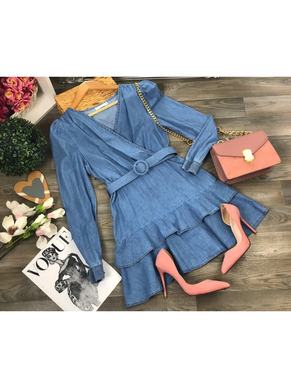 riflové šaty s volánom