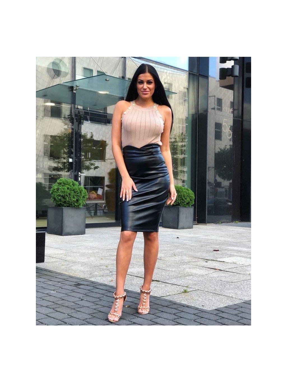 koženková sukňa s vysokým pásom