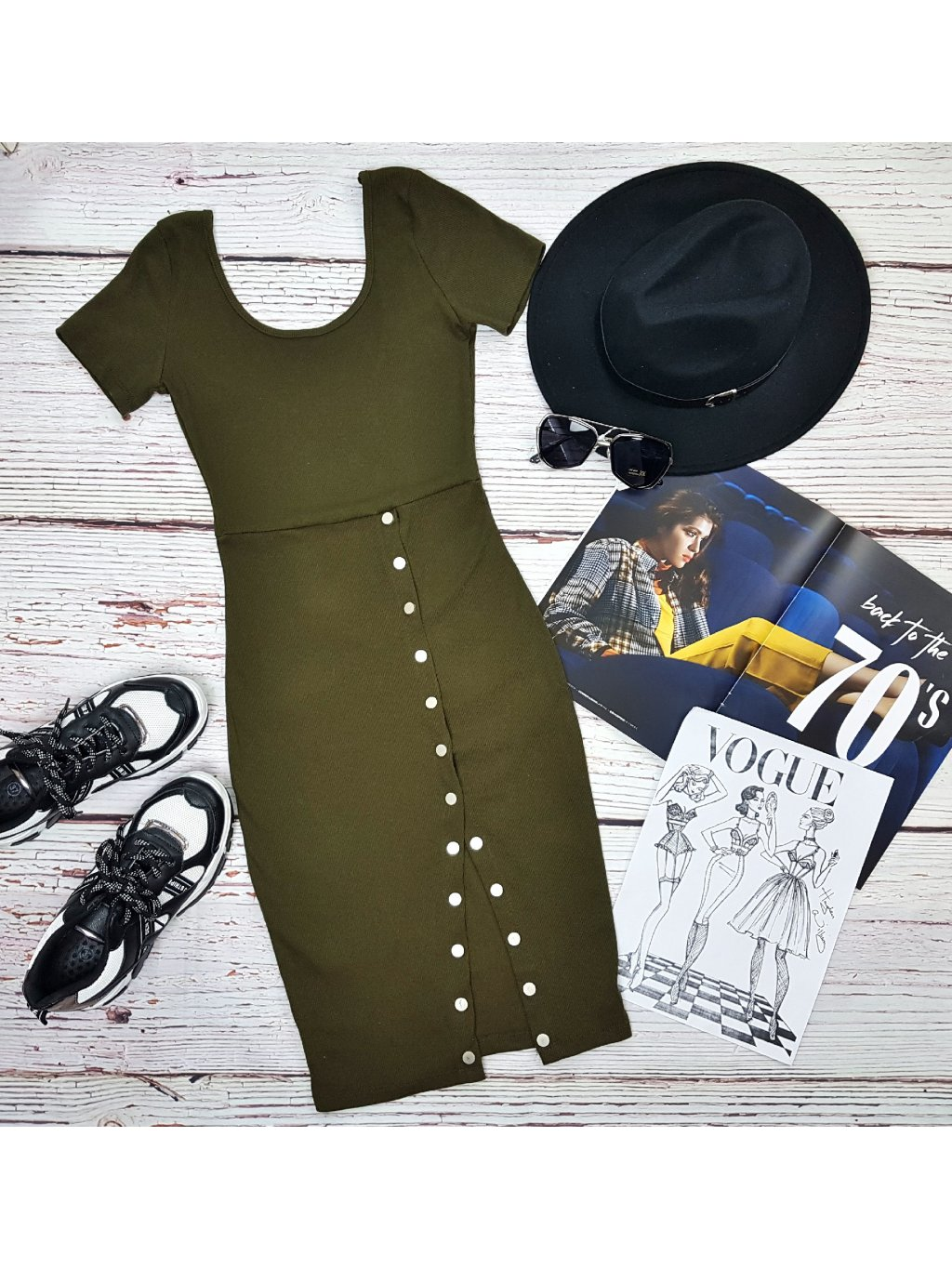 dámske army zelené šaty s gombíkmi
