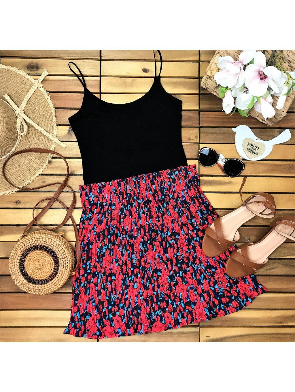 kvetovaná plisovaná sukňa