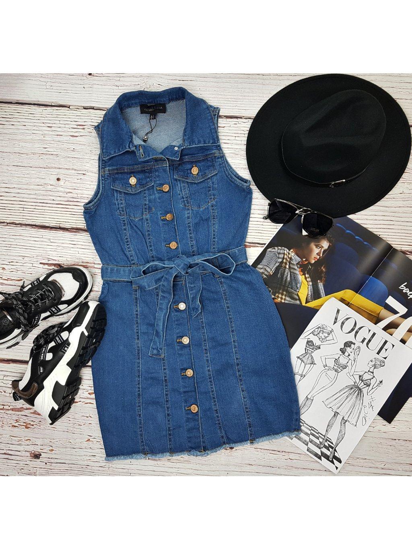 modré riflové šaty na gombíky