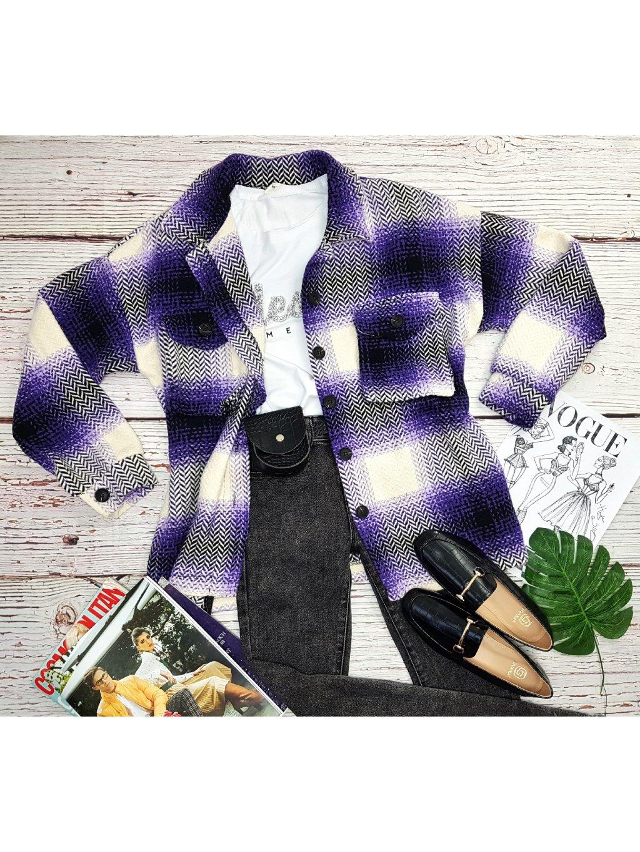 dlhá kockovaná košeľa - kockovaný kabát