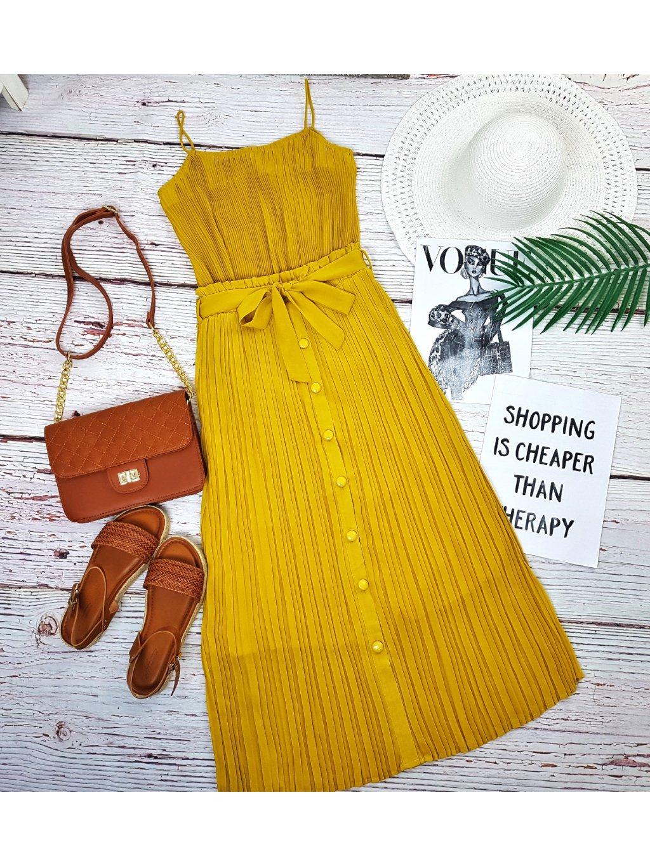 plisovaný top žltý