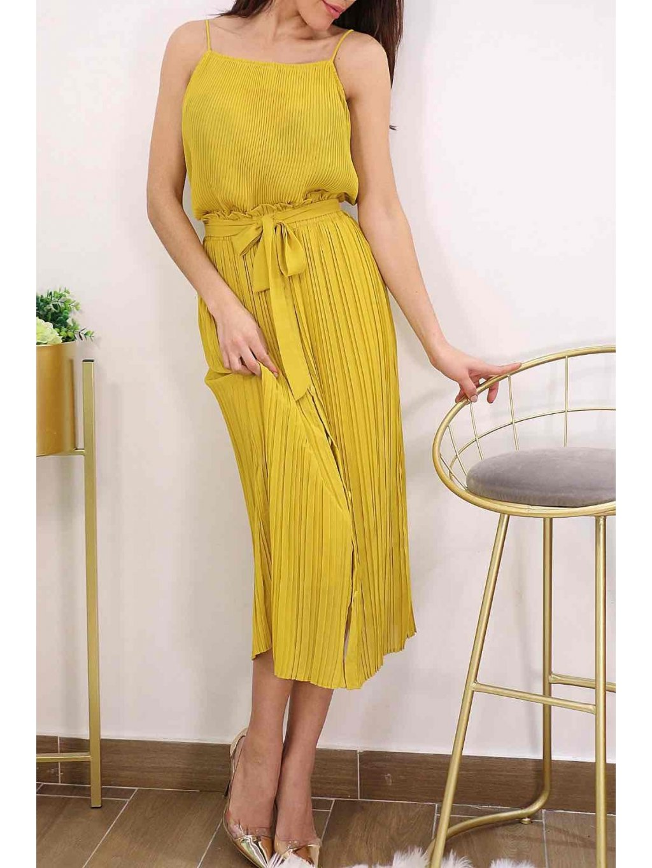 žltá plisovaná midi sukňa