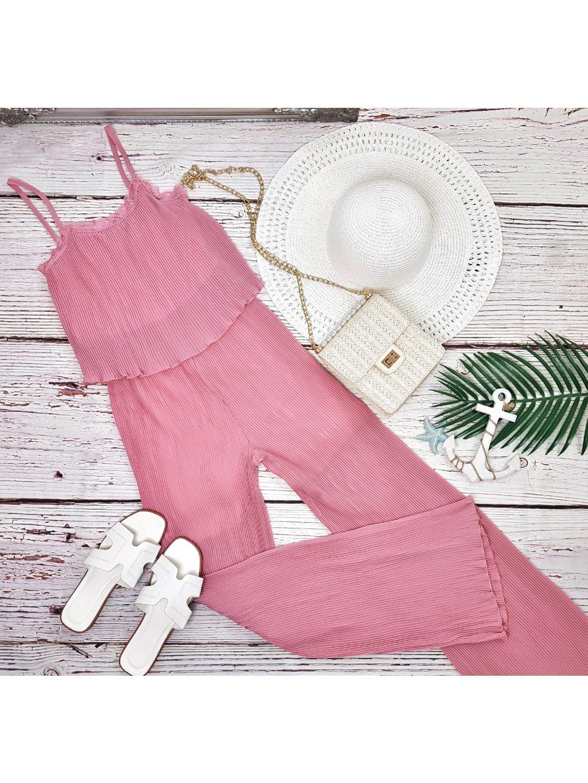 ružový plisovaný overal