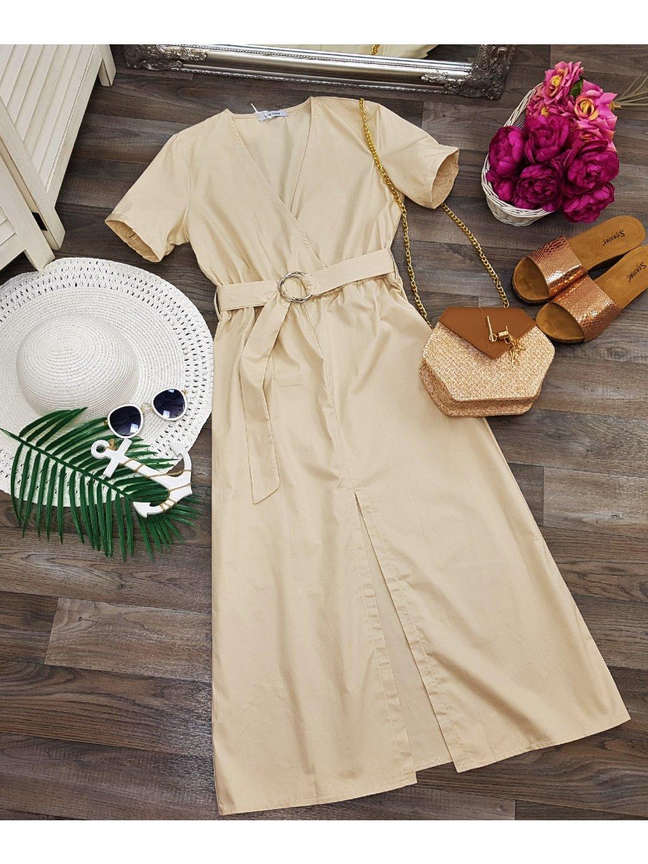 béžové midi šaty