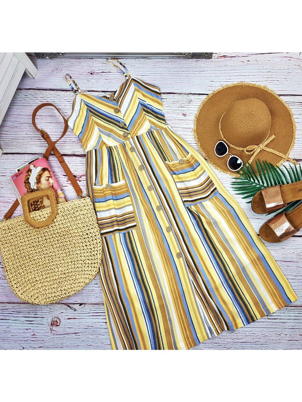 farebné pásikavé midi šaty