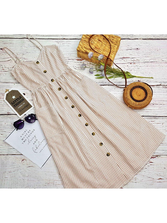 pásikavé midi šaty na leto