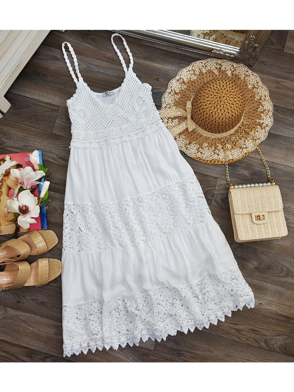 biele bavlnené šaty na ramienka