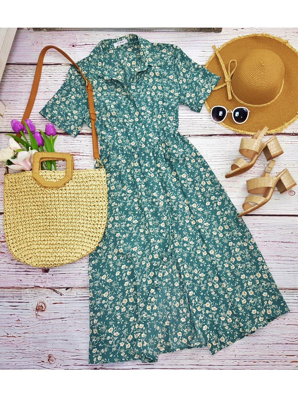 zelené midi šaty s kvetmi