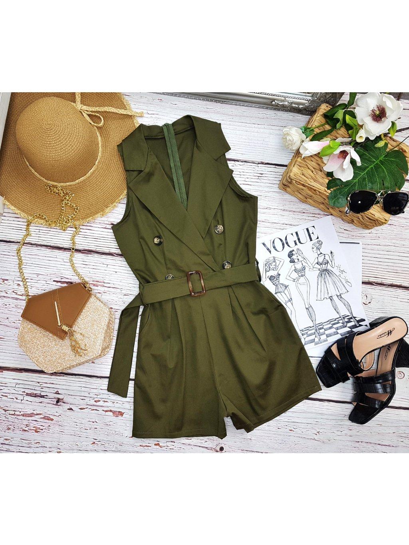 khaki zelený overal letný