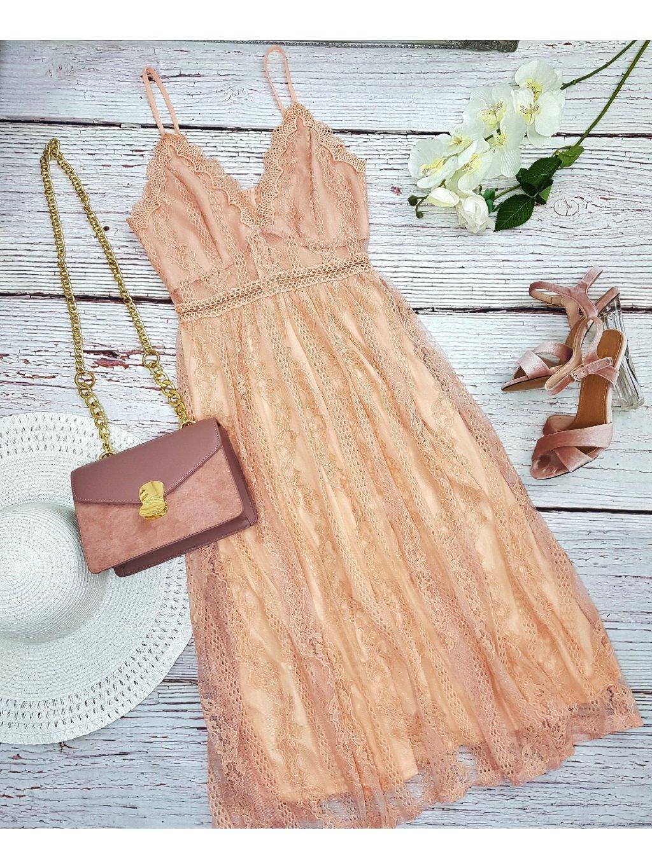 ružové dlhé čipkované šaty