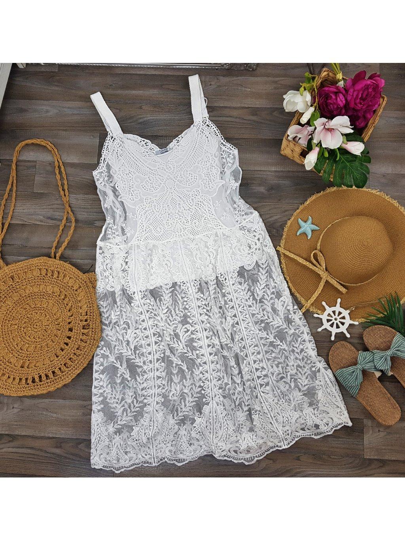 plážové háčkované čipkované šaty